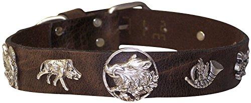 FRONHOFER Hundehalsband Tracht Jagd Halsband 3 cm, Wildsau Nieten, echt Lederhalsband, 18279, Farbe:Braun, Größe Hundehalsband:M Halsumfang 40-47 cm