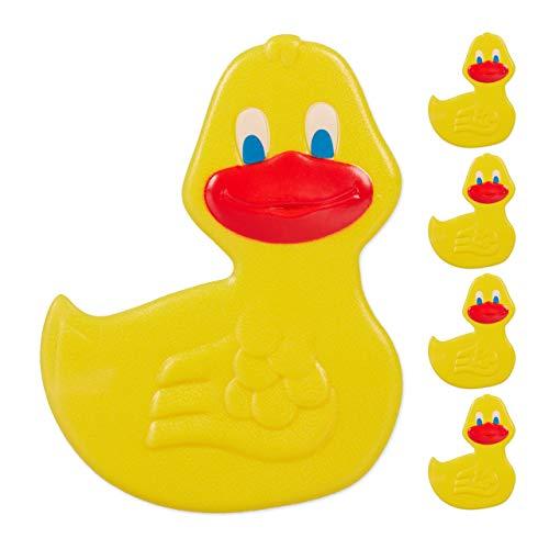Relaxdays Badewannen Sticker Kinder, 5er Set, Tier-Design Ente, mit Saugnäpfen, Wanne & Dusche, Anti Rutsch Pads, gelb