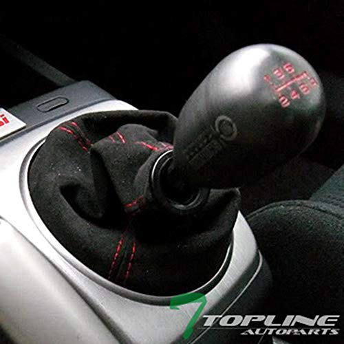 Topline Autopart JDM Red Stitch Black Suede Shiftier Shift Boot Gear Cover Manual MT/Auto AT Transmission