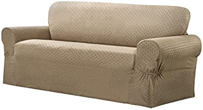 Maytex Conrad 1-Piece Loveseat Furniture Cover/Slipcover, Sand