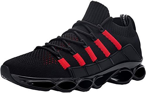 DYKHMATE Zapatillas de Seguridad Hombres Punta de Acero Calzado de Trabajo Ligero Transpirable Botas de Seguridad Anti Choque (Negro Rojo,41 EU)