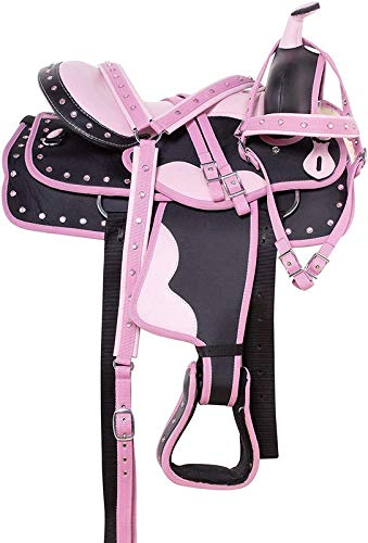 Blue Lake Synthetic Western Youth & Pony Horse Saddle Tack Barrel Racing with Matching Headstall + Breast Collar + Reins + Saddle Pad   Color : Blush Pink   Size 13 Inches Seat Available