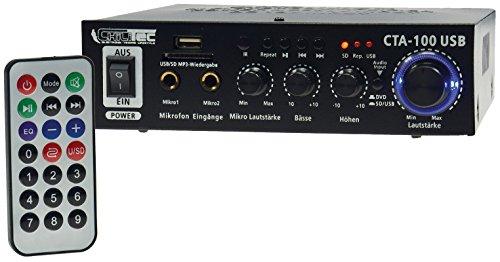 ChiliTec Amplificador HiFi CTA-100 USB 100 W I Line IN I 12 V/230 V Mando a Distancia I Negro