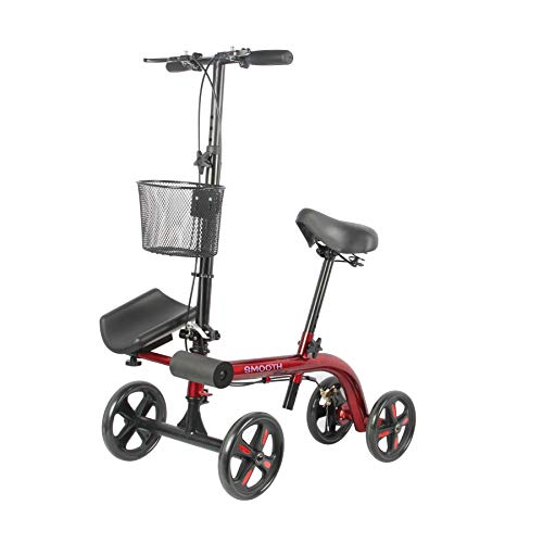 Tuffcare Smooth Steerable Seated Scooter, Slow Propelled Mobility Knee Walker Crutches Alternative with Dual Brakes in Candy Apple Red