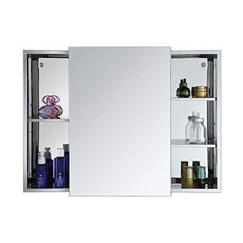 Nvshiyk Armario de Almacenamiento Espejo de Acero Inoxidable Mueble de baño Bolsa de Almacenamiento Locker Mirara Espejo Cuarto de baño montado en la Pared (Color : Silver, Size : 80x60cm)