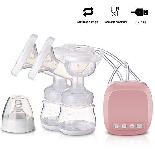 Jonly Tragbare elektrische Brustsaugpumpe, doppelte Saugleistung beim Stillen, Freisprech-Massagefunktion, Stillen und Füttern des Babys,Pink,Wideport