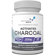 Activated Charcoal 300mg Capsules (not Tablets) | 180 Capsules (6 Months Supply) | High Strength Activated Charcoal | Suitable for Vegetarians & Vegans | Made in The UK by Northumbria Health
