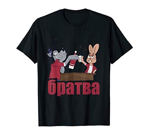 Nu Pogodi Hase Wolf Wodka Russland Russia Putin CCCP Sowjet T-Shirt