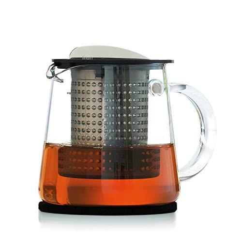 Finum TEA CONTROL theepot van glas met gepatenteerde koffiecontrole - theepot met permanent filter - theepot 0,4 liter - glazen kan voor thee, zwart