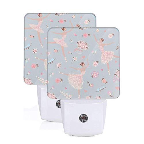Paquete de 2 luces automáticas bailarinas bailarinas con flor rosa gloriosa rosa Auto lámpara de sensor de anochecer a amanecer luz de noche luces led para pasillo dormitorio escaleras pasil