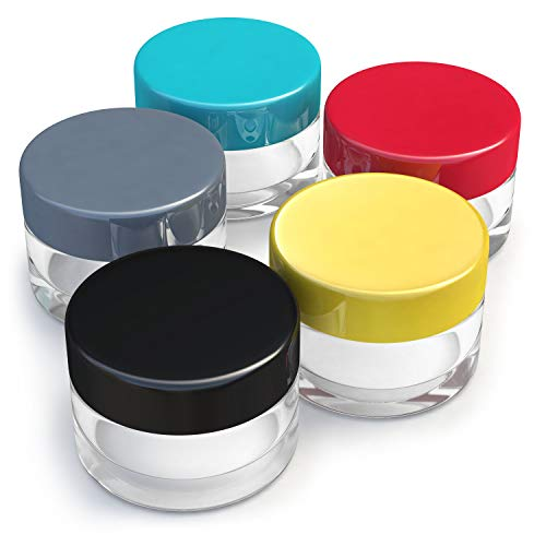 Small Size Empty Travel Jars - with Lids for Makeup, Lotion, Cream, Lip Balm and other Cosmetics, Superior Quality Sample Containers for Travel and Home