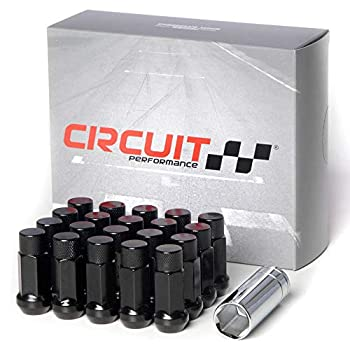 Circuit Performance Forged Steel Extended Closed End Hex Lug Nut for Aftermarket Wheels  12x1.5 Black - 20 Piece Set + Tool