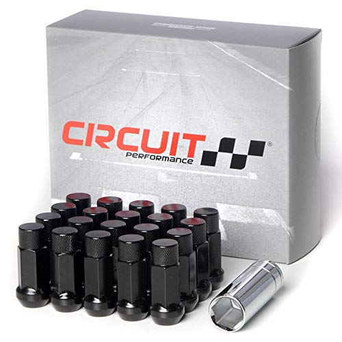 Circuit Performance Forged Steel Extended Closed End Hex Lug Nut for Aftermarket Wheels: 12x1.5 Black - 20 Piece Set + Tool