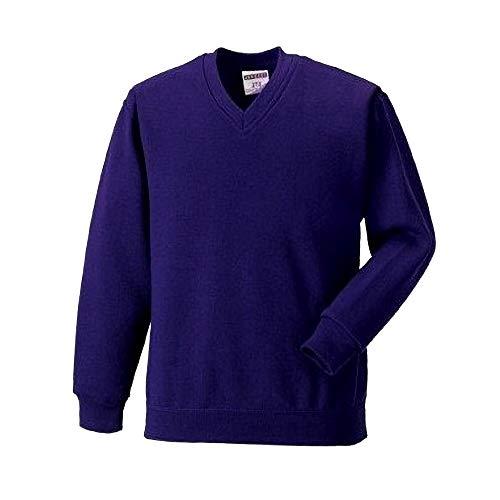 Russell Werkkleding V-hals Sweatshirt Top (XL) (paars)