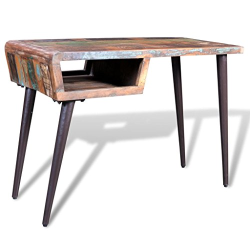 Tidyard Vintage Reclaimed Wood Home Office Desk Antique Handmade Living Room Furniture with Iron Legs