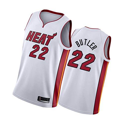 XMYM Jimmy Butler Herren-Basketballtrikots Miami Heat 22#, Retro-Sportwesten-Sportoberteile, Klassische gestickte ärmellose Westen White-M
