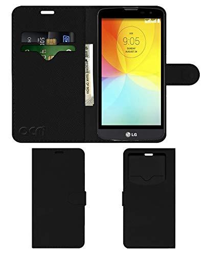 Acm Leather Window Flip Wallet Front & Back Case Compatible with Lg L Bello D335 Mobile Cover Black