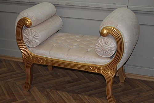 LouisXV Barock Bankett Hocker Sessel Antik Stil - Stil AlSo0319GoBgSamt/Velour