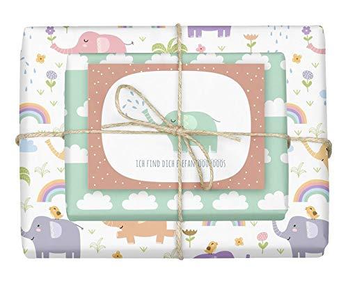 Geschenkpapier-Set für Kinder: Elefanten: 4x Einzelbögen + 1x Postkarte