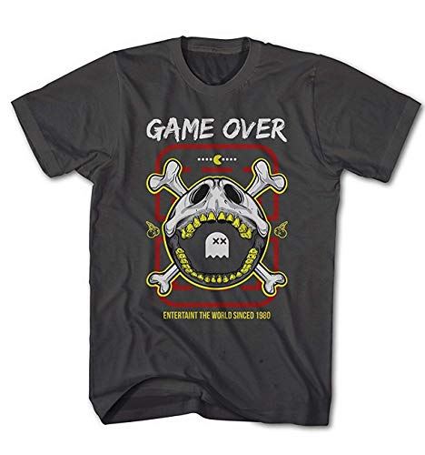 Camiseta Hombre Pacman Calavera Caza Fantasmas Arcade Juego Clásico Game - Antracita, M