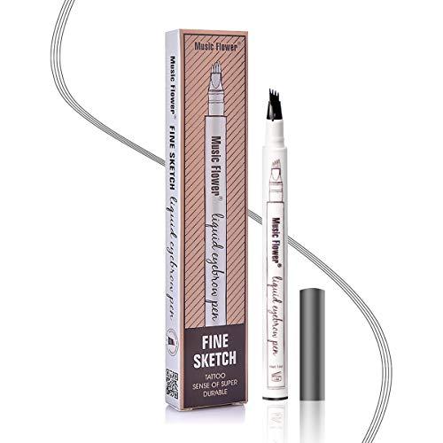 Stylo à Sourcils Étanche - Crayon à Sourcils Microblading Imperméable Avec Pointes Imperméable, Longue Tenue Pour Un Maquillage Naturel Des Sourcils(Gris Foncé)