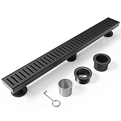 WEBANG 36 Inch Rectangular Linear Shower Floor Drain With Accessories,Capsule Pattern Grate Removable,Brushed Nickel And Food-grade SUS 304 Stainless Steel,WATERMARK&CUPC Certified,Matte Black