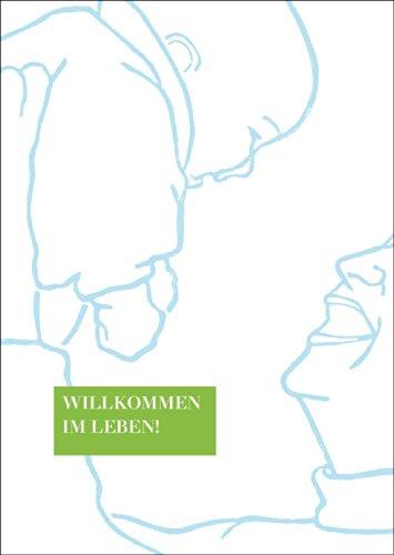 Verjaardagskaart voor baby/geboorte in lichtblauw: Welkom in het leven • ook voor direct verzenden met uw persoonlijke tekst als inlegger. • Mooie welkom wenskaart, geboortekaart voor moeder en kind