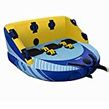3-Person Towable Tube with Dual Front & Back Tow Points, 3 Rider Inflatable Towable with Heavy Gauge & Durable Build, Anti Leakage Inflatable Float Tube with Included Air Pump