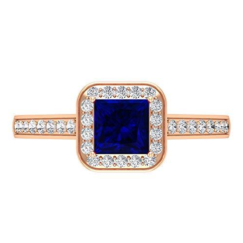 Anillo de zafiro azul creado en laboratorio, anillo de halo de diamante HI-SI, anillo solitario de oro con piedras laterales (5 mm, corte princesa, 14K Oro rosa, Size:EU 66