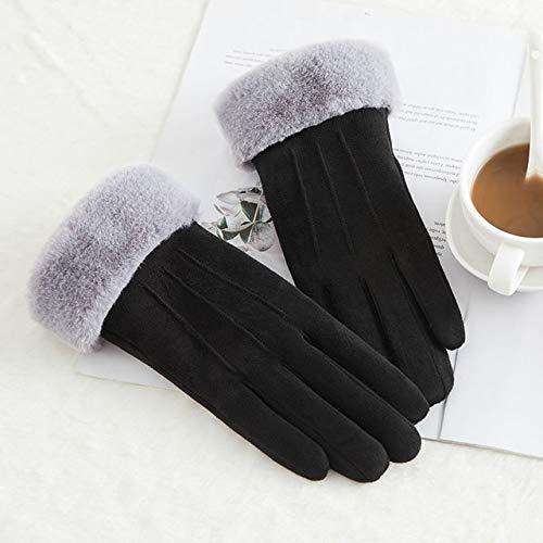 Nuevo Invierno Mujer Encaje Cálido Cachemira Tres Costillas Lindo Oso Mitones Doble Grueso Felpa Muñeca Mujeres Pantalla Táctil Guantes de Conducción-C56 B Black