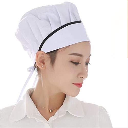 FHFF Koksmuts Solid Blauw Wit Zwart Roze Top Cap Catering Chefs keuken brood dames heren mand verstelbaar zwart gestreept