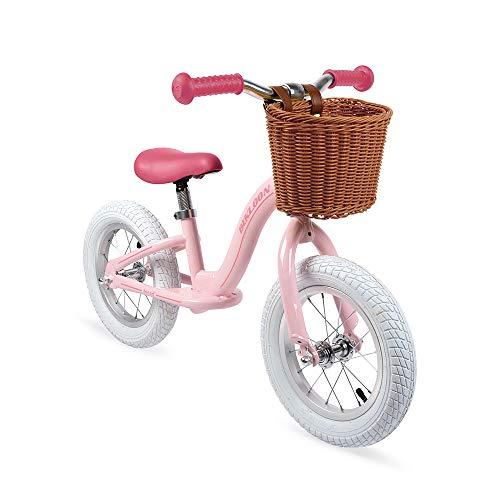 Janod - J03295 - Bicicleta de equilibrio metálica y estilo retro con sillín ajustable y neumáticos inflables, color rosa, bicicleta para aprendizaje de equilibrio, para niños a partir de 3 años