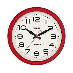 SHARP Retro Wall Clock Red Vintage Design Round Silent Non Ticking Battery Operated Quality Quartz Clock
