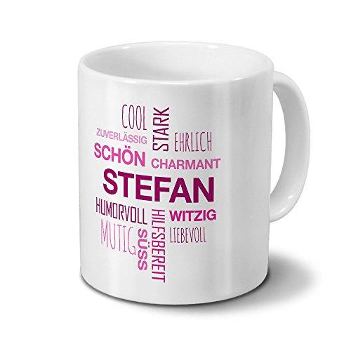 printplanet Tasse mit Namen Stefan Positive Eigenschaften Tagcloud - Pink - Namenstasse, Kaffeebecher, Mug, Becher, Kaffeetasse