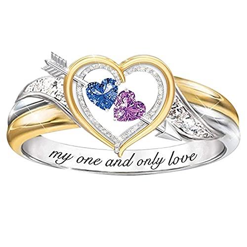 ILOVE - Anillo para mujer de acero inoxidable, alianzas o alianzas de amistad con delfín, amor, corazón, pétalos de rosa en forma de regalo para madres, novias, día de la madre