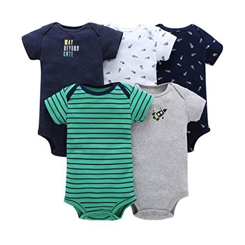 5-Pack Baby Jongens korte mouw Bodysuit Peuter Romper Katoen Vest Sets 0-24 Maanden 6-9 Months C