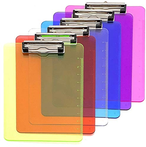 KAHEIGN 6Pcs A4 Transparent Plastic Clipboard, 6 Coloured Clipboard Paper Holder Writing Board with Low Profile Clip and Ruler Scale Edge for Memo Form Document (31.5 x 22.5cm)