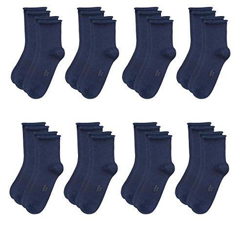 Camano Damen Socken Fashion Ankle Cotton Fine 8er Pack, Größe:35-38, Farbe:Blue (30)