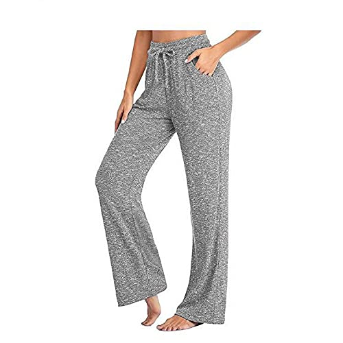 MLLM Fitness Estiramiento Yoga Pilates Pantalón,Pantalones de Yoga Casuales Sueltos, Pantalones Largos Trenzados-Gris_XL,Ideal para Hacer Pilates Yoga Pantalones