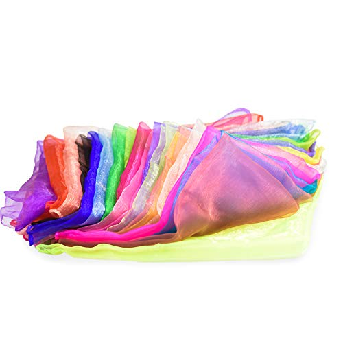 NATEE 20pcs Pañuelo de Baile, Bufandas de Danza, Pañuelo de Malabares, Bufanda Malabarismo, Bufanda de Banda Rítmica para los Niños Fiesta Decoración Juego 20 Colores 60*60cm Cuadrados