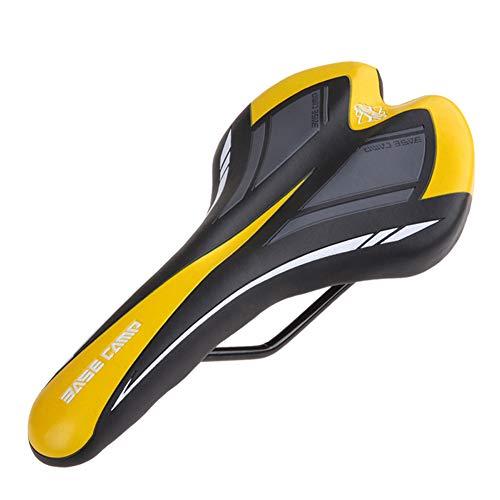 Sillín Sillín de bicicleta Sillín de bicicleta Hollow Health Confort suave con amortiguador Suspensión para anillo de sujeción Tubo de asiento Tubo de asiento de dos vías Hombres ( color : Amarillo )