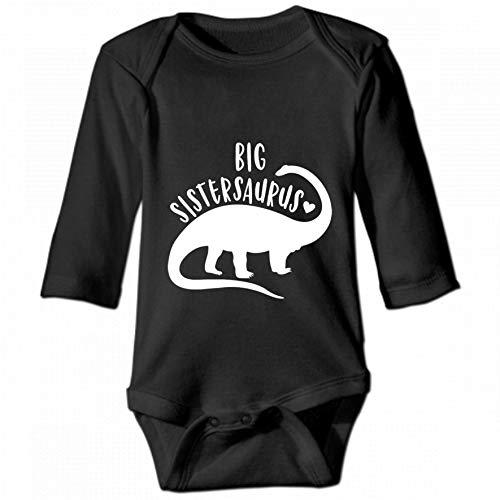 KioHp Big Sistersaurus T-Rex dinosaurus Unisex baby lange mouwen ronde hals unisex kinderen klimjurk casual mode kinderen zwart