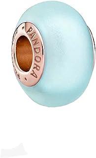 Pandora Breloque en verre de Murano bleu mat avec alliage plaqué or rose 14 carats de la collection Pandora Moments 13,6 x...
