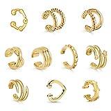 Sloong 10pcs Sparkling Ear Cuff Gold Dainty Helix Earrings Huggie Stud for women Earring S...