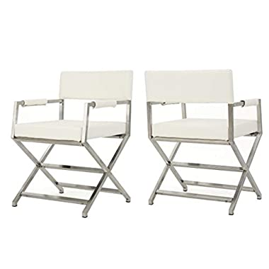 Christopher Knight Home Vesper Leather Modern Arm Chairs, 2-Pcs Set, White