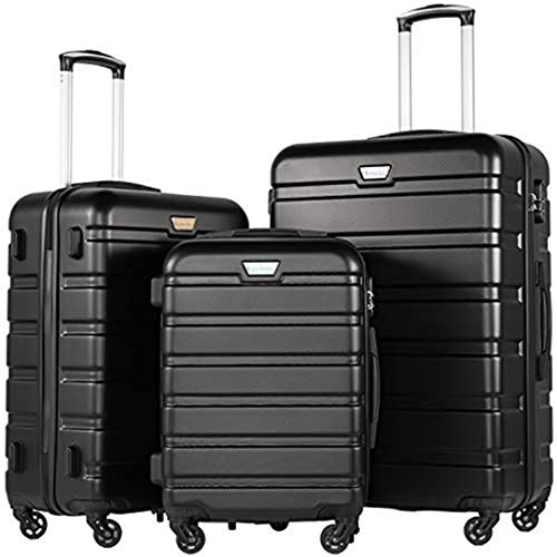 3 Piece Set Family Suit Rolling Luggage with Lock Spinner Carry On Suitcase Travel Luggage 20/24/28 Inch Black