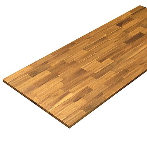 Interbuild - Encimeras de cocina de madera maciza de acacia (2000 x 800 x 26 mm), 1 unidad (teca dorada)