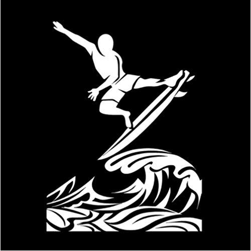 5 Piezas Etiqueta engomada del Coche 12,6 * 17 CM Interesante Etiqueta engomada del Coche del Vinilo de Surf Blanco