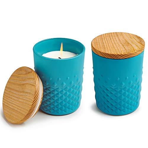 Bougie parfumée Carats Old Mystique – couvercle en bois - tendance - turquoise – set de 2 –...