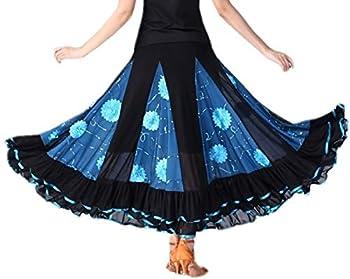 CISMARK Elegant Micro Fiber Long Swing Ballroom Latin Dance Skirt for Girls Lake Blue One Size